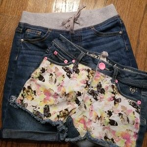 Justice 2 Pair Lot Of Blue Jean Shorts Sz 8R 10